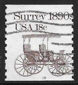 U.S. Scott #1907 18c Surrey Stamp USED PS1 Plate #16 AVG Cat. $11.00