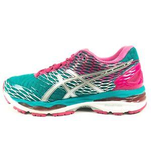 Asics Gel Nimbus 18 Running Shoes - Women's Size 8 - Green Pink