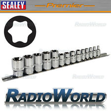 "Sealey Premier 14PC TX-Star 1/4"" 3/8"" & 1/2""Sq Drive E4-24 Socket Set DIY AK618"