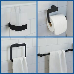 Black Bathroom Accessories Toilet Roll Holder Towel Rail Ring Robe Hook Tumbler