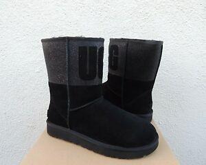 UGG BLACK CLASSIC SHORT UGG SPARKLE SUEDE/ WOOL BOOTS, WOMEN US 7/ EUR 38 ~NIB