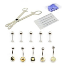 Piercing Kit 17pcs Belly Ring, Labret, Disposable forceps Needles and Gloves 14G