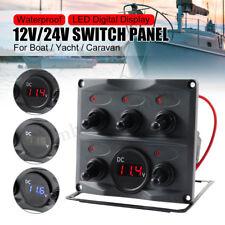 5 Gang Toggle Switch Panel Breaker LED Digital Voltmeter Car Marine Boat