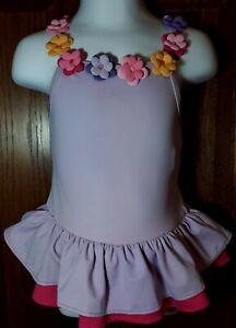 Gymboree Swimsuit Size 18-24 Mo Purple w/ 3D Flowers Ruffles EUC! Fast Ship!