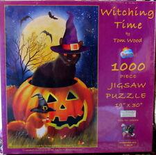 Witching Time 1000 piece jigsaw puzzle Halloween, black cat, jack o lantern NEW