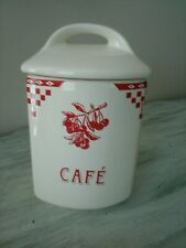 Le Comptoir De Famille Cafe Cannister France Ivory Red Cherries Ceramic NEW
