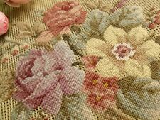 "Vtg 23"" PREWORKED Needlepoint Canvas 100% PETIT POINT- Aubussion Style Mute Rose"