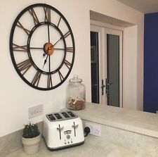 Black & Copper Extra Large Iron Metal Clock 71cm Roman Numerals Cut Out BN