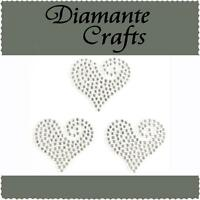 3 x 30mm Clear Diamante Heart Swirls Rhinestone Vajazzle Body Art Gems