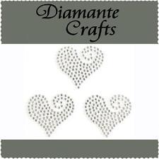 3 x 30mm Clear Diamante Heart Swirls Rhinestone Vajazzle Body Art Gems