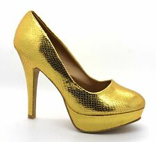 Subex Womens UK 6 / 7 Gold High Heel Snake Print Stiletto Platform Court Shoes