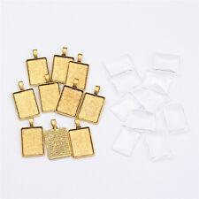 10 Sets Antique Golden Rectangle Alloy Pendant Cabochon Settings Tray: 25x18mm