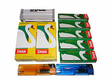 BULL BRAND CIGARETTE ROLLING MACHINE + 5 SWAN PAPERS + 2 FILTERS + 2 LIGHTERS