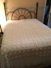 Vintage Crochet Bed Cover Linens Bedspread Shabby Rose White Cotton French Style