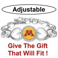 University Minnesota Golden Gophers Womens Silver Heart Bracelet w Gift Pkg D27
