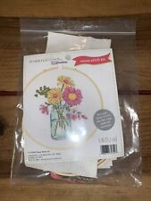 "Dimenisons ""Flower Mason Jar"" Counted Cross Stitch Kit & Wood Hoop Frame"