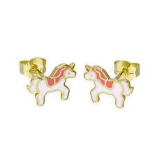 375 9ct Gold & Colourful Enamel Cute Unicorn Stud Earrings Fairytale Childrens