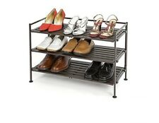3-Tier Wood Grain Shoe Rack, Holds 9 Pairs & 90 lbs, bedroom / garage / kitchen