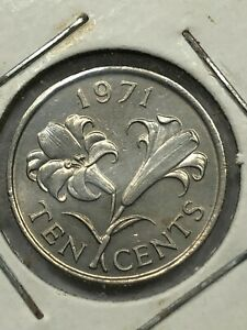 1971 Bermuda 10 Cent Foreign Coin #305