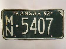 LICENSE PLATE Car Tag 1962 KANSAS MN 5407 [Z280E]