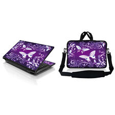 "17.3"" Laptop Sleeve Bag w Shoulder Strap & Matching Skin Purple Butterfly 1"