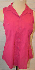 Women's Sonoma Very Berry Pink Sleeveless Button Front Shirt Top Sizes S, L