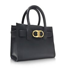 TORY BURCH Gemini Link Black Leather Small Tote Bag