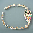 Hollow-out Clear Crystal Colorful Enamel Owl 18K GP Bracelet Bangle BH3076