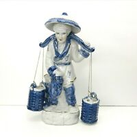 Vintage Ceramic Chinese Asian Gatherer Woman with Baskets Figurine