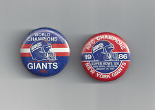 (2) 1986 New York Giants Super Bowl XXI pins buttons Phil Simms LT pin lot