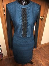 Guess Sexy Dress Black & Dark Turquoise NWT $99 Sheer Sleeves Size 8 J56