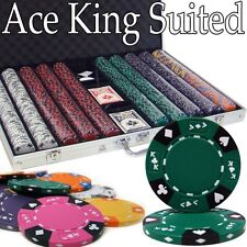 New 1000 Ace King Suited 14g Clay Poker Chips Set w/ Aluminum Case - Pick Chips!
