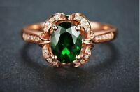 1.60Ct Oval Cut Green Emerald Vintage Halo Engagement Ring 14K Rose Gold Finish