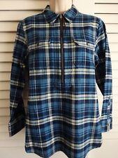 New ~ Chaps ~ M ~ partial zip front Blue Plaid cotton blouse Shirt ~ Ranch Side