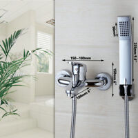 Wall Mounted Bathroom Chrome Rainfall Bathtub Shower Mixer Tub Tap Faucet set