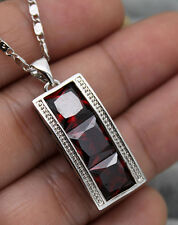 18K White Gold Filled - 8MM Square Ruby Topaz Noble Women Prom Pendant Necklace
