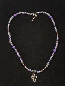 "Artisan Silver Tone Purple Glass Bead Faux Pearl Cross Choker Necklace 16.5"""