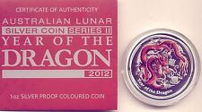 2012  LUNAR COIN: YEAR of the DRAGON 1 oz SILVER PROOF COIN NUMBER 02272
