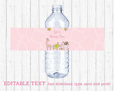 Safari Girl Pink Jungle Animals Water Bottle Labels Printable Editable PDF
