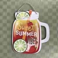 NEW! Mason Jar Sweet Summer Vibes Lime Party Decor Glitter Wall Door Porch Sign