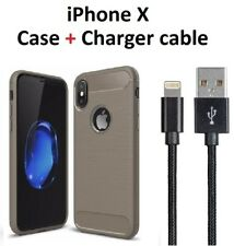 Gray Rugged Armor Case Cover iPhone X + Charger Charging Cord Cable 3f