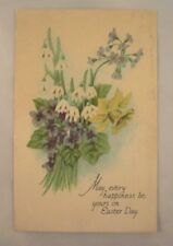 1929 Easter Postcard - Violets, Snowdrops, Daffodil with Verse