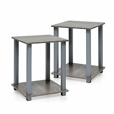 Furinno 12127GYW/GY Simplistic End Table, French Oak Grey, Set of 2, New, Free S