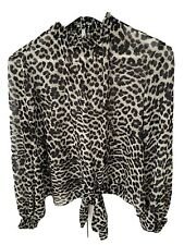 Portmans Size 10 High Neck Leopard Print Front Tie Long Sleeve Top With Cami
