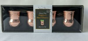 Highball Moscow Mule Shot Glasses Hammmered Copper Finish Set Of 4 Bar 2 OZ Size