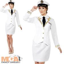 White Naval Officer Ladies Sailor Captain 40s Uniform Fancy Dress Adults Costume