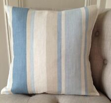 """16"""" cushion cover in Laura Ashley Awning stripe seaspray blue & Austen back"""