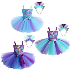 Kids Girls Mesh Mermaid Costume Tutu Party Dress for Halloween Carnival Cosplay
