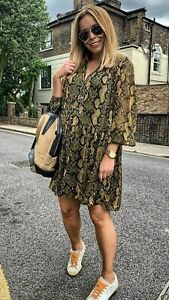 BNWT H&M Beautiful Khaki Green Snake Print Chiffon Wide OVERSIZED Dress  Size 8