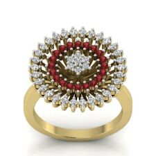 Blooming Flower 1Ct Round Cut Ruby Diamond Cocktail Ring 14K Yellow Gold FNSH